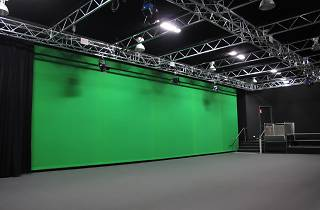 Image of a green screen in a studio