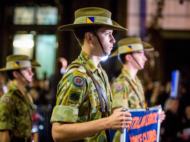 People in attendance at the ANZAC Dawn Service held at Martin Pl