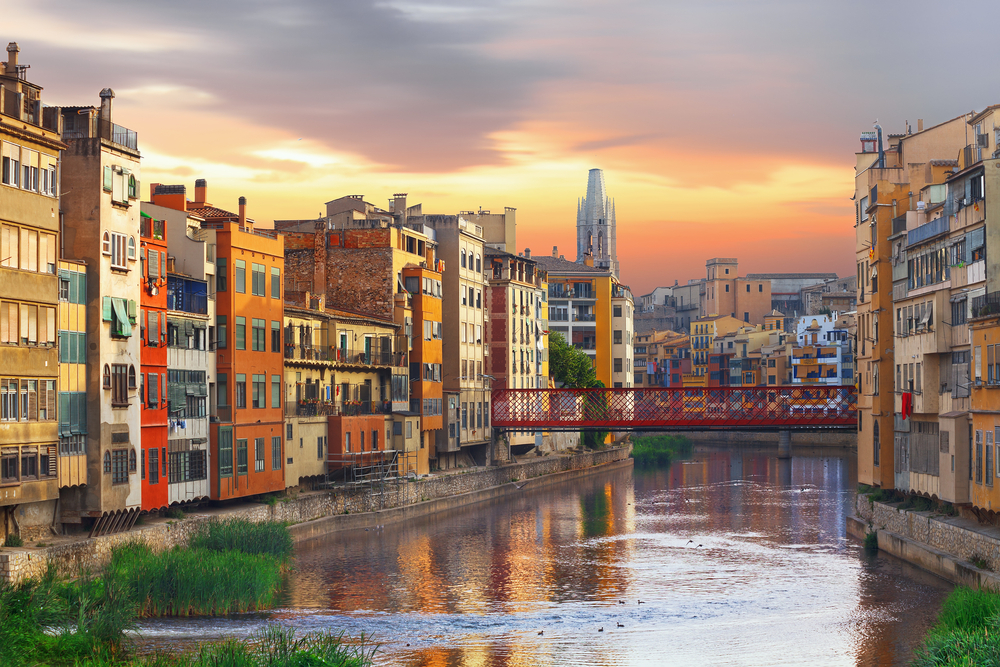 The houses that back onto the river Onyar, Girona city