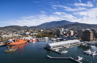 Aerial shot of Hobart