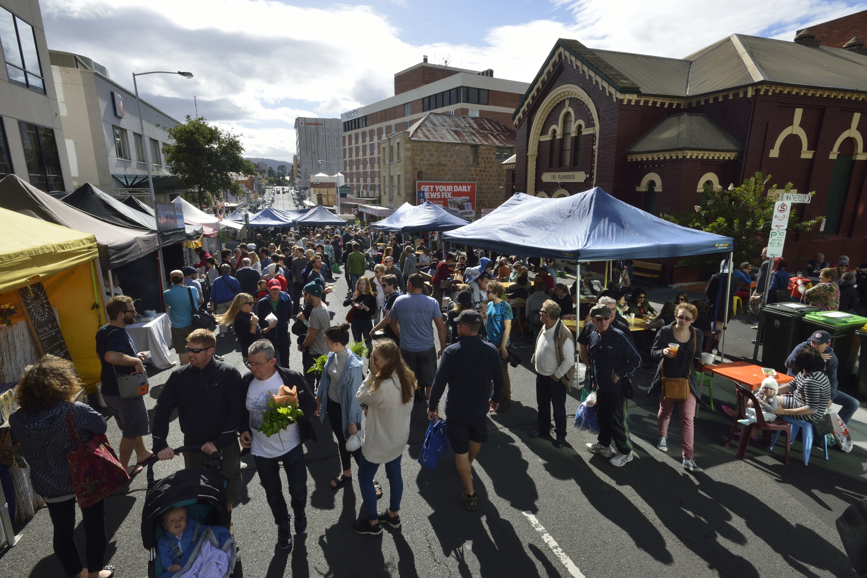 Shoppers at outside market in Hobart