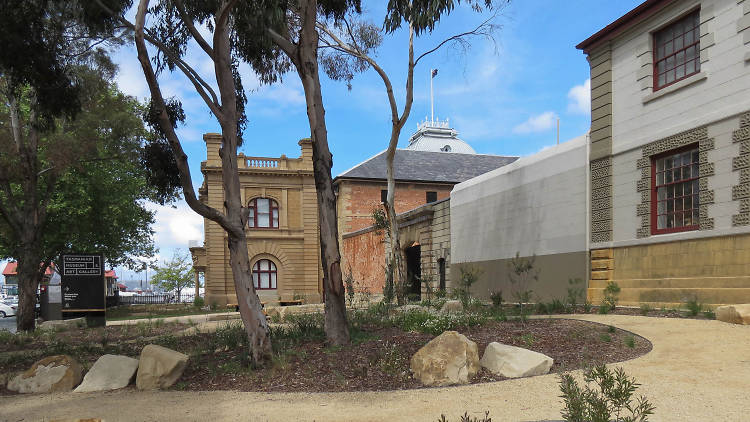 A view of Hobart's Tasmanian Museum and Art Gallery on a sunny day