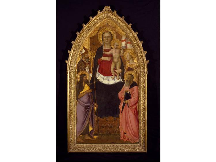 Nardo di Cione, Madonna and Child Enthroned with Saints Zenobius, John the Baptist, Reparata and John the Evangelist, mid 14th century