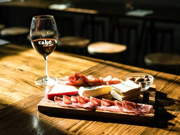 Wine and charcuterie board at Cake Wines