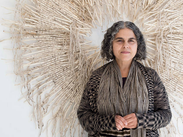 Tracey Deep 2016 Paperbark image of artist with work in Saint Cloche gallery courtesy of Saint Cloche April 24