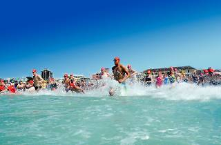 Swimmers entering the water