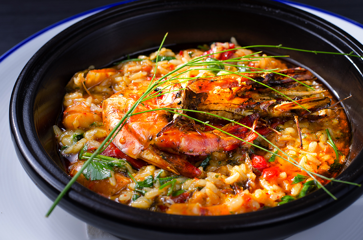 Bounty grilled tiger prawn risotto