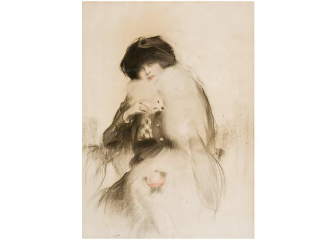 Júlia en boa i rosa (c.1910)