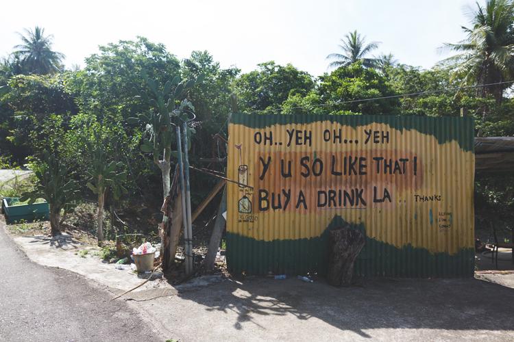 'Y u so like that!' drinks stall mural