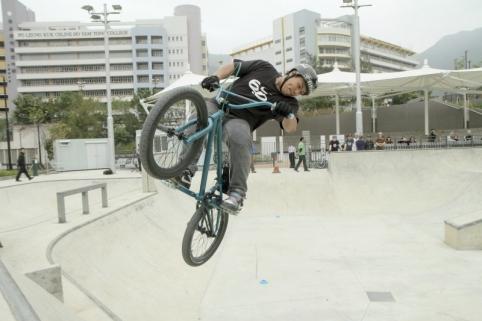 A BMX biker performing a stunt