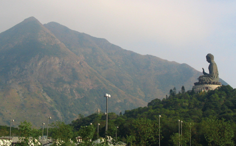 A view of the hills in Lantau with the Big Buddha in the background