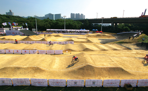 A bmx park with jumps
