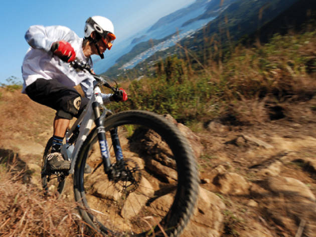 A Mountain Biker cycling downhill