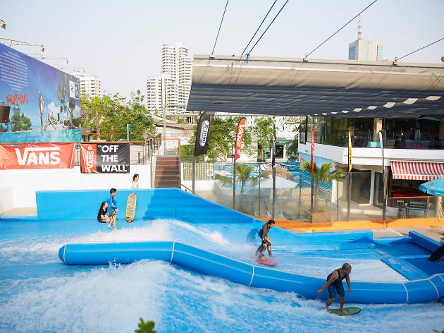 Flow House is Bangkok's only urban beach club with a wave machine,