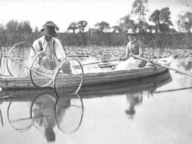(Goodall and Emerson: 'Setting the Bow-Net, in Life and Landscape on the Norfolk Broads', 1885. © Private Collection)