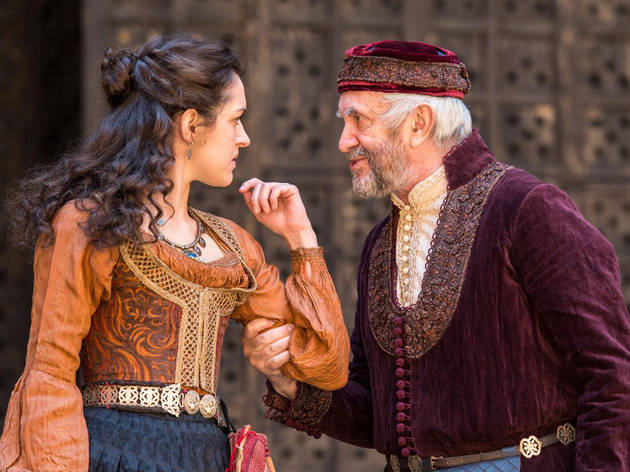 Phoebe Pryce and Jonathan Pryce in the Shakespeare's Globe production of The Merchant of Venice