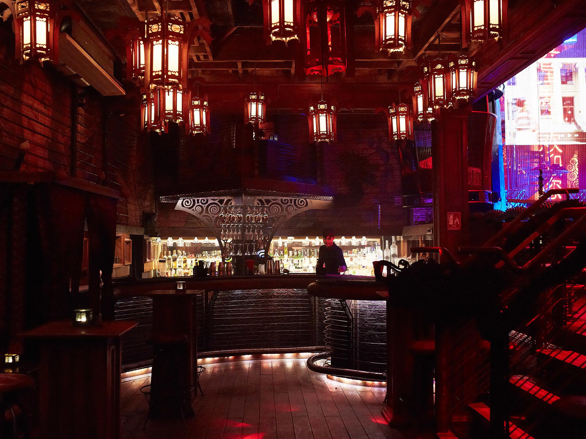 Metalwork, wood, lanterns and neon lights decor