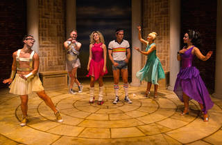 Xanadu The Musical 2016 Hayes Theatre production photo feat Dion Bilios James Maxfield Jaime Hadwen Ainsley Melham Catty Hamilton Kat Hoyos