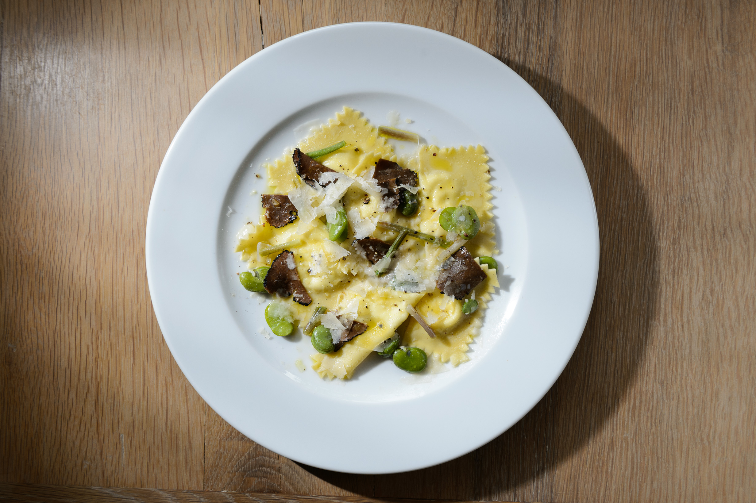 <p>Ravioli with fava beans at Café Altro Paradiso</p>