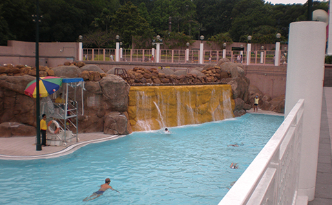 Shot of Kowloon Park Swimming Pool, with faux waterfall