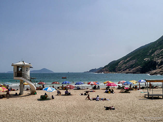 Shot of Shek O Beach with parasols