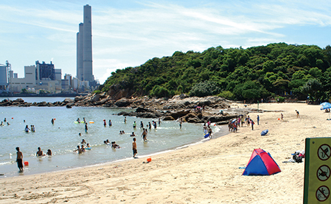 Shot of Hung Shing Yeh Beach, with tent in forgeround