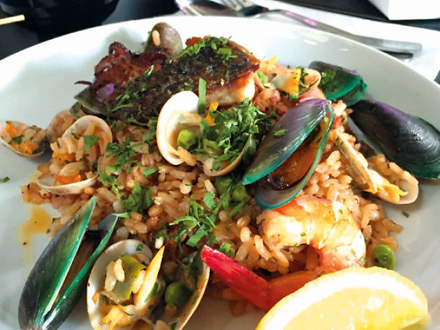Seafood paella, $9