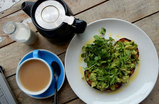 Avocado on toast and tea from Ask For Janice, Smithfield, London
