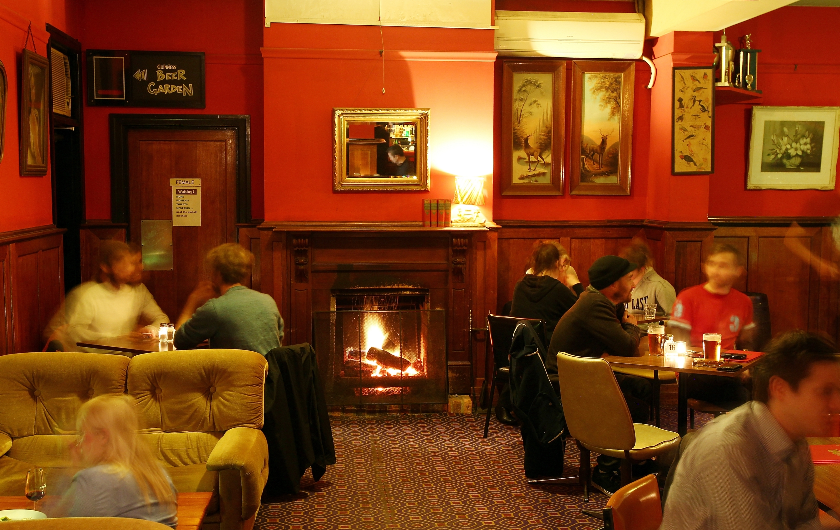 Fireplace in the dining room of The Napier Hotel