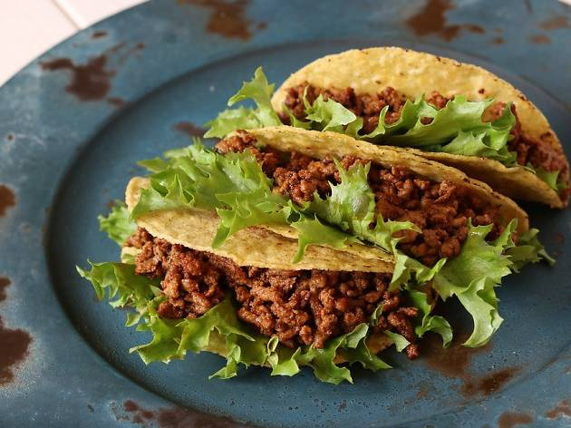 Minced meat tacos on a plate