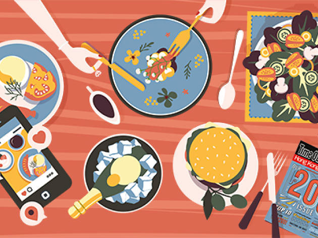 illustration of plates of food, smart phone, magazine and hands reaching onto plates