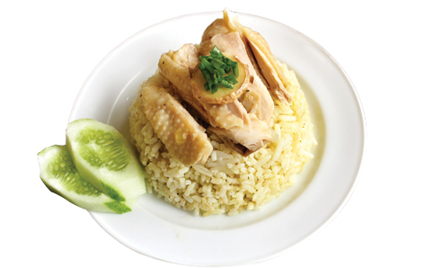 Plate of Hainan chicken and rice