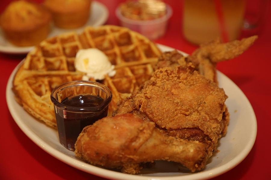 Chickena and waffles at Hard Knox Café