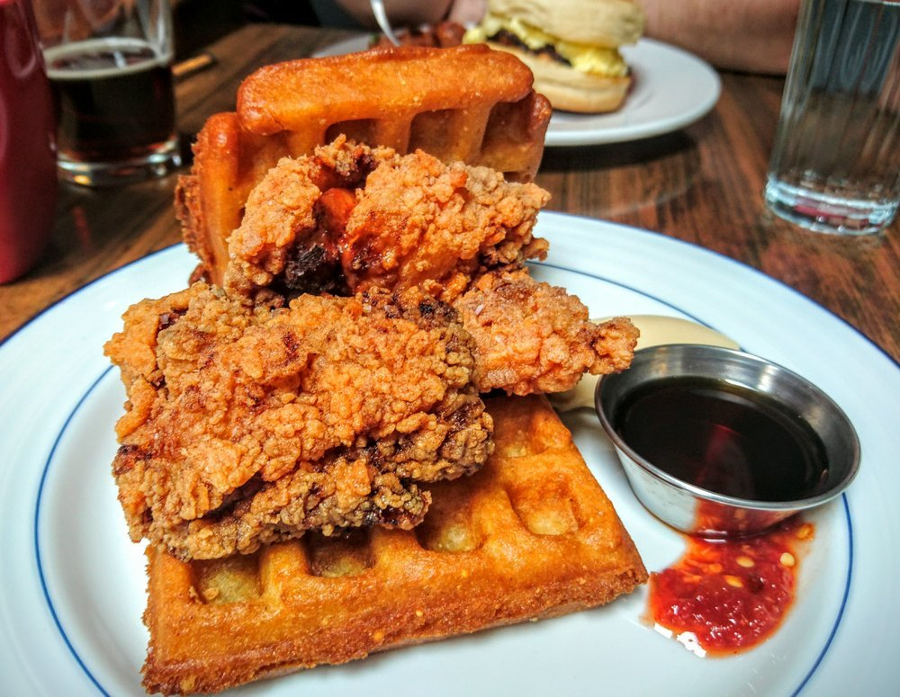Chicken and waffles at Mission Bowling Club