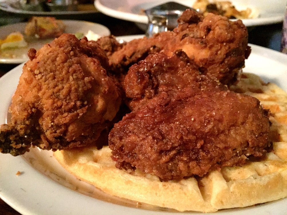 Chicken and waffles at The Front Porch