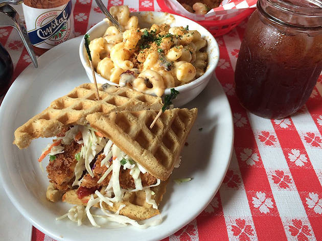 Chicken and waffles at Soul Groove