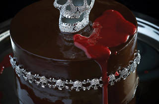 chocolate cake with crystal skull