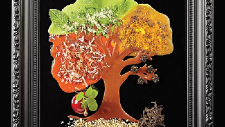 Framed artwork of tree made of edible ingredients