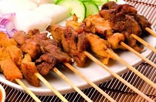 singaporean, satay, skewers