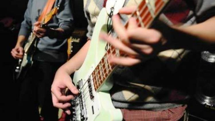 Shot of guitars during an open mic
