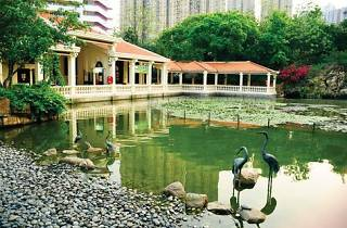 Shot of pond near verandah at Tsing Yi Park