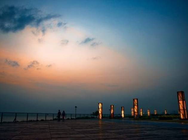 View from West Kowloon Waterfront Promenade in the sunset