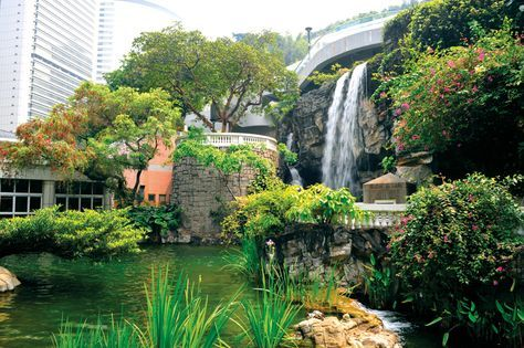 Shot of waterfall and pond at hong kong park