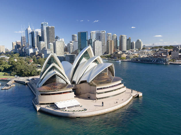 An aerial shot of the Sydney Opera House