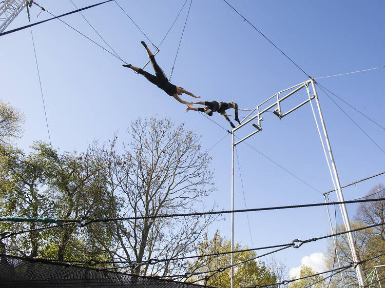 Fly through the air at a trapeze school