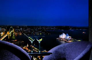 A view of Sydney harbour at night