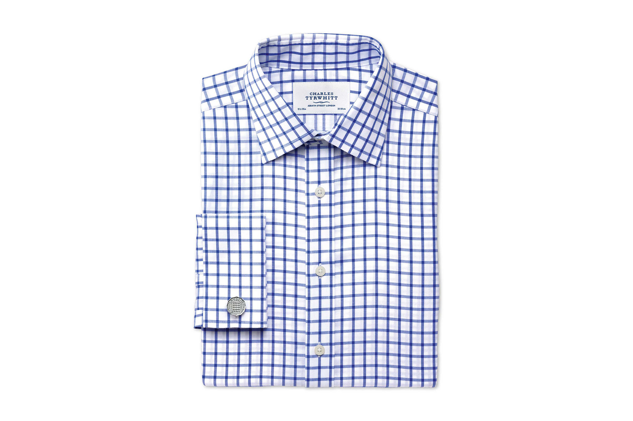 Charles Tyrwhitt no-iron checked blue button-down
