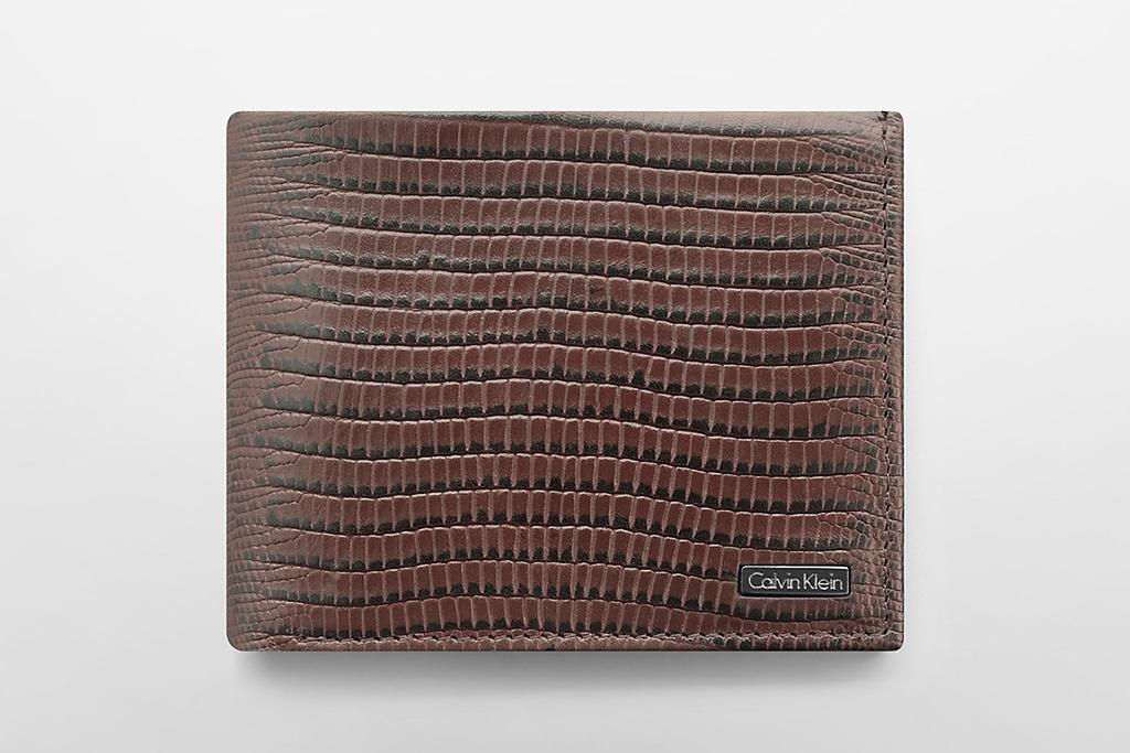 Calvin Klein lizard textured leather bifold wallet