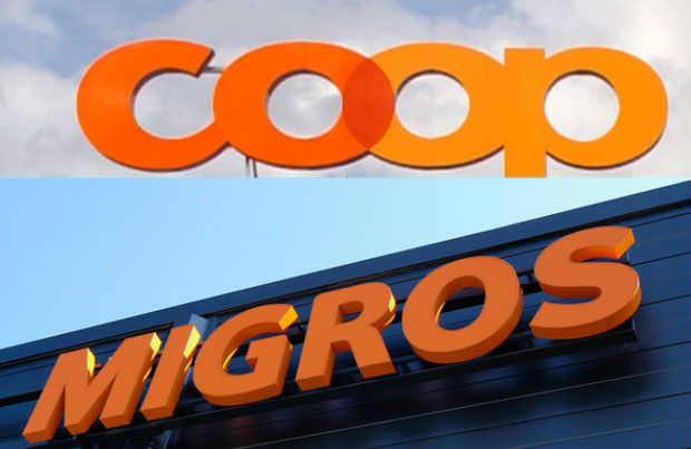 Coop and Migros logos