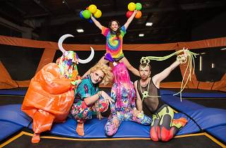 The colourful crew from Heaps Gay jump on the trampolines at Sky Zone